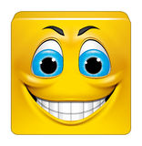 Square emoticon smiling Stock Images
