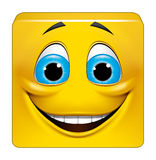 Square emoticon smiling. Illustration on white background of Square emoticon smiling Royalty Free Stock Photography