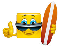 Square emoticon surfer Royalty Free Stock Photos