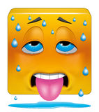 Square emoticon sweating heat Royalty Free Stock Photography