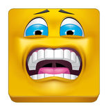 Square emoticon terrified Royalty Free Stock Image