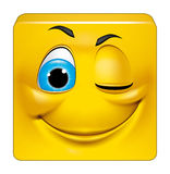 Square emoticon winking Stock Photos