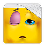 Square emoticon wounded Stock Images