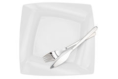 Square empty  dish, knife and fork, top view Stock Images