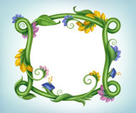 Natural blank banner frame with flowers and green leaves Stock Photo