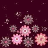 Square endless ethnic ornament with colorful flowers mandalas in vector. Indian, arabic motives. Print for fabric royalty free illustration