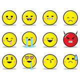 Square Eyes Emoticon Set Stock Photos