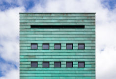 Square facade with copper strips Royalty Free Stock Images