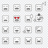Square Face Emoticons Stock Photos