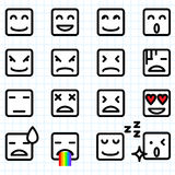 Square Face Emoticons. Illustration of a set of square face emoticon icon Royalty Free Stock Photos