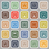 Square face flat icons on gray background Royalty Free Stock Photo