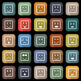 Square face flat icons with long shadow Stock Images