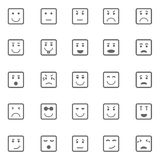 Square face icons on white background Stock Image