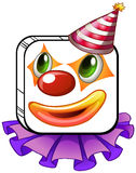 A square-faced clown with a party hat. Illustration of a square-faced clown with a party hat on a white background Stock Image