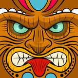 Square Faced Tiki Mask. Vector illustration Royalty Free Stock Image