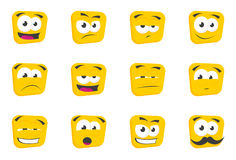 Square Faces. Square cartoon faces with different expressions Stock Photo