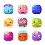 Square Fantastic Creature Face Emoji Set Stock Images