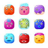 Square Fantastic Creature Face Emoticon Set. Of Flat Brightly Coloured Vector Design Cute Icons  On White Background Stock Image