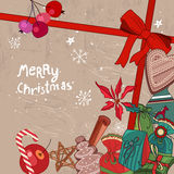 Square festive frame with Christmas objects. Stock Image
