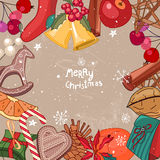 Square festive frame with fruits, cookies, berries and Christmas objects. Stock Image