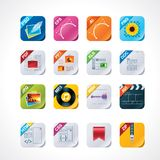 Square file labels icon set. Set of the detailed icons representing different file types (square version Royalty Free Stock Photo
