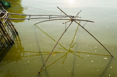 Square Fish Net in local Canal Royalty Free Stock Image