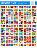 Square Flag Icons - All World Vector. Illustration Royalty Free Stock Images