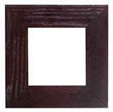 Square flat dark brown wooden picture frame Royalty Free Stock Image