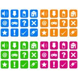 Square, flat white silhouette UI icon set. 12 icons, 4 color variations. Isolated on white vector illustration