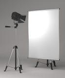 Square Flipchart on Grey Background. Stock Photo