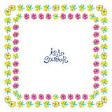 Square floral frame. Floral frame with colorful exotic flowers. Nature square hand drawn border on white background. Vector decoration. Good for greeting cards Stock Photography