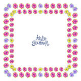 Square floral frame. Floral frame with colorful exotic flowers. Nature square hand drawn border on white background. Vector decoration. Good for greeting cards Royalty Free Stock Images