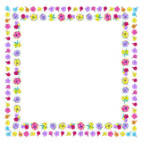 Square floral frame. Floral frame with colorful exotic flowers. Nature square hand drawn border on white background. Vector decoration. Good for greeting cards Royalty Free Stock Photography