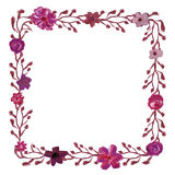 Square floral frame. Royalty Free Stock Photo