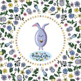 Square floral frame  with rabbit , eggs and lettering greeting board on the transparent background. vector illustration