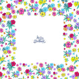 Square floral frame Royalty Free Stock Photography
