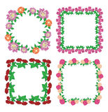 Square floral frames - flowers - vector Royalty Free Stock Photo