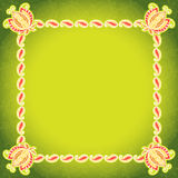 Square floral green frame. Retro Stock Photography