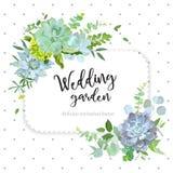 Square floral vector design frame with polka dots vector illustration