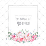 Square floral vector design frame. Orchid, rose, peony, carnation flowers and eucaliptus leaves Royalty Free Stock Images