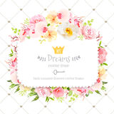 Square floral vector design frame. Orchid, wild rose, camellia flowers and fresh green leaves Stock Image