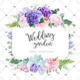 Square floral vector design frame. Rose, ranunculus, hydrangea, iris, fuchsia, carnation, succulent. Wedding card. Delicate violet wedding invitation card. All royalty free illustration
