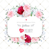Square floral vector frame with beautiful flowers and crown patt Royalty Free Stock Photos
