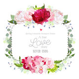 Square floral vector frame with peony, rose, carnation, orchid, hydrangea and eucaliptus. Royalty Free Stock Photography