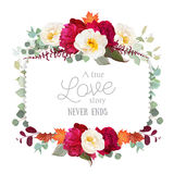 Square Floral Vector Frame With Peony, Wild Rose, Mint Eucaliptus And Maple Leaves On White Stock Photography