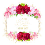 Square floral vector frame withpink peonies, hydrangea on white Royalty Free Stock Photos