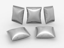 Square foil pouch packaging  with clipping path. Square foil pouch use for your product like snack or food   with clipping path Stock Image