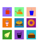 Square food icons Royalty Free Stock Photo