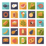 Square Food icons vector set. Collection of 25 flat design food and drink vector icons in square shape Stock Photos