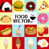 Square food vector set Royalty Free Stock Image